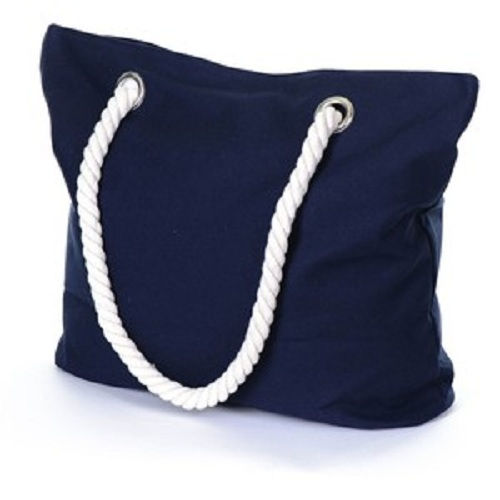 blue cotton canvas beach bag